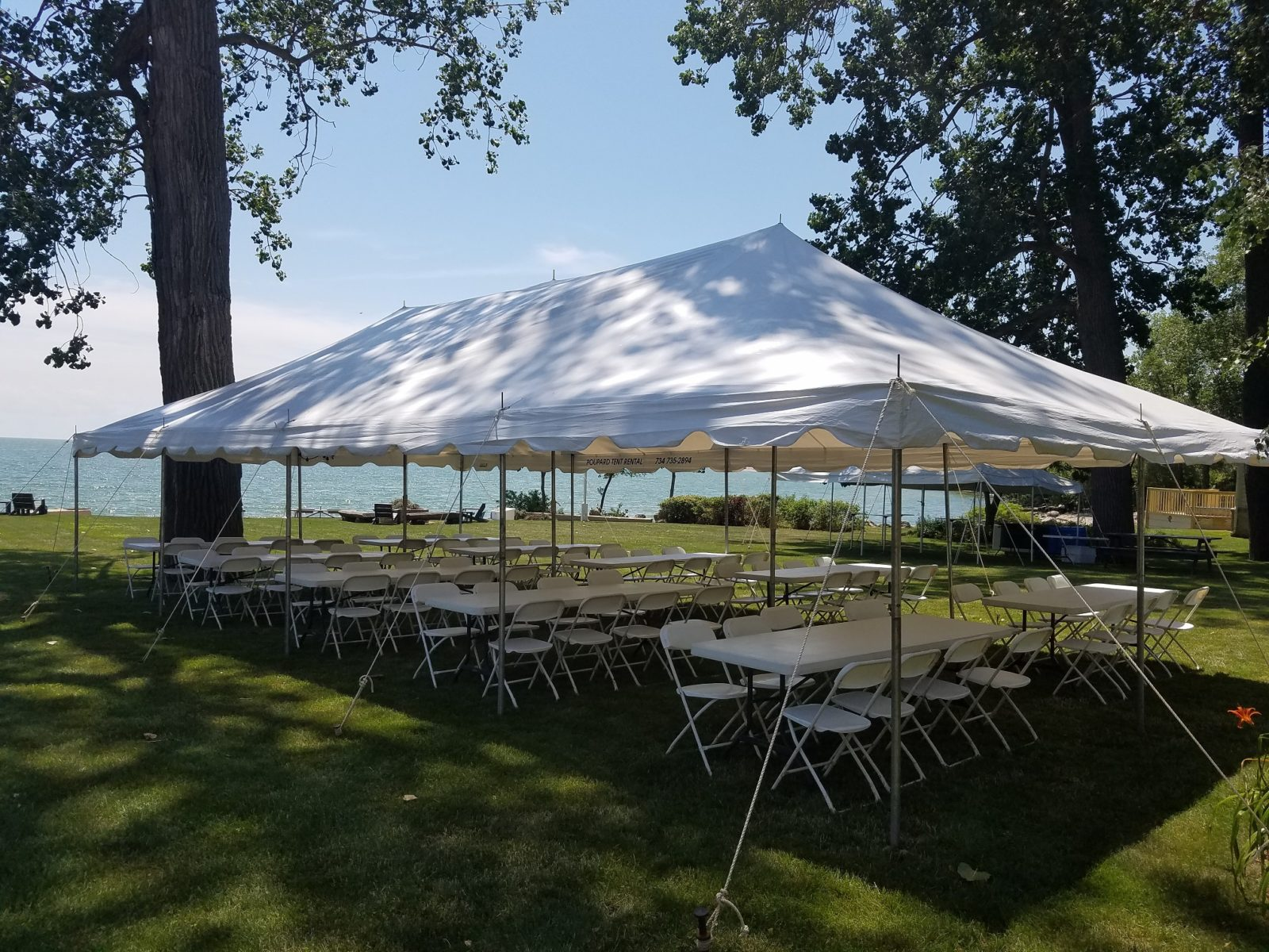 A picture of tent rentals set up in Monroe County, MI