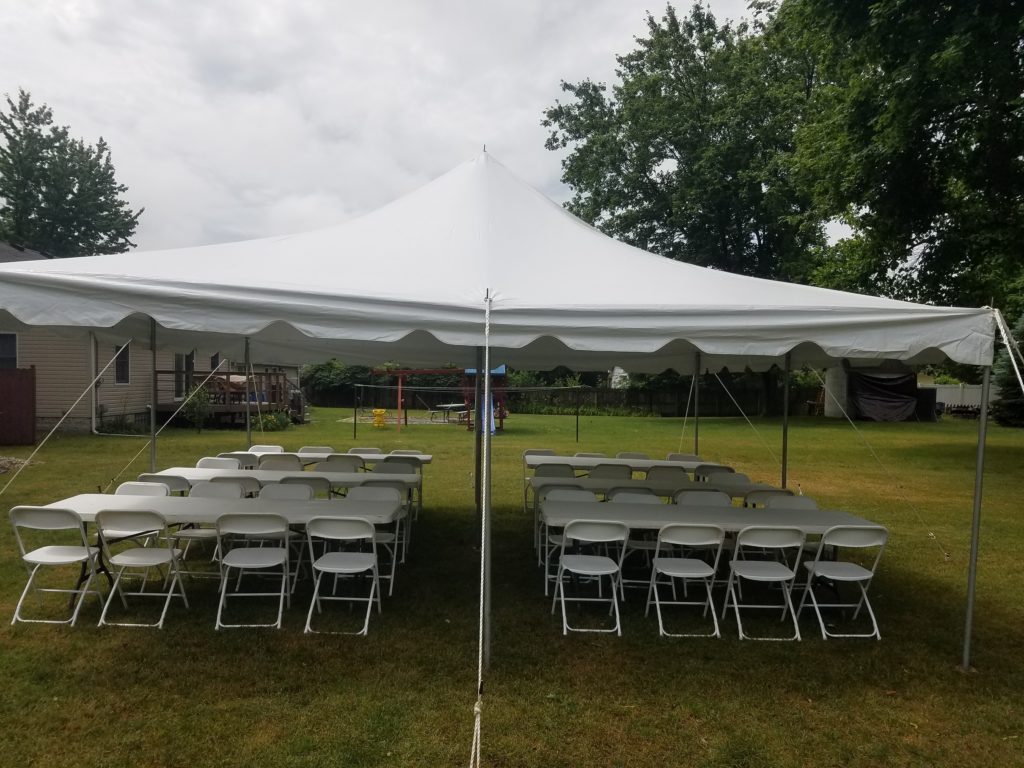 20 X 30 Pole Tent, 8 (8 Foot) Tables, 64 Folding Chairs: $350